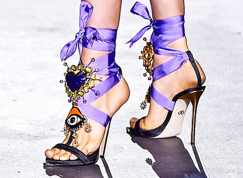 2017 RUNWAY Dsquared Dsquared2 Lace-Up Embellished Satin, Purple Ribbon Sandals
