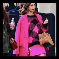 Kenzo Wool + Cashmere Belted Pink Coat; ASO Emily Cooper (Emily in Paris)