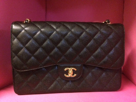 * 2014 NIB Chanel Jumbo Black Caviar Double Flap Bag, Quilted: Gold Hardware *