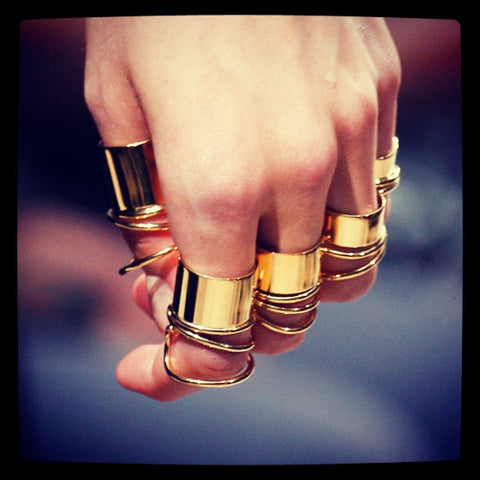 ** Balenciaga Spring 2013 Multi Ring Set, Gold Coil Rings: ASO Kate Moss **