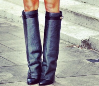2014 Givenchy Over the Knee Black Leather Shark Tooth Wedge Boots, Christine Centenera