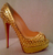 Christian Louboutin RARE Gold Python Spiked Lady Peep, 150mm