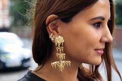 ** Balenciaga Chandelier Gold Runway Earrings, Fashion Week: ASO Christine Centenera **