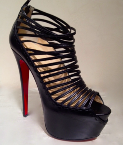 Christian Louboutin Zoulou Leather Platform Sandals: Black