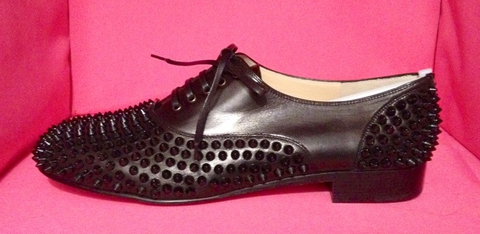 **NIB: Christian Louboutin Freddy black spiked loafers: 42.5**