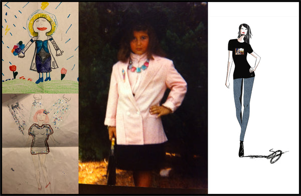Photo collage, left images are Shireen's fashion drawings as a kid, center image is a photo of Shireen as a kid playing dress up and photo on the right is a current fashion sketch.