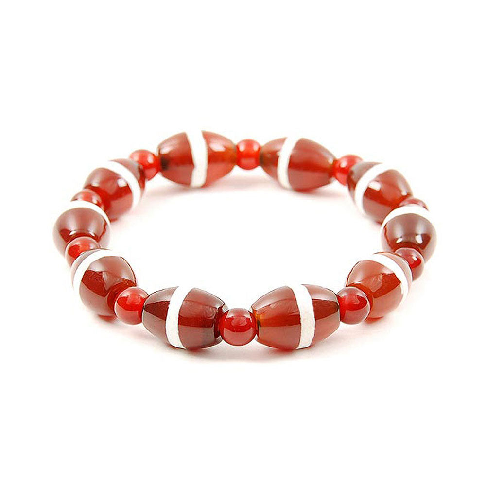 Lucky Dzi Bead Bracelet (10x14mm) - Line Beads