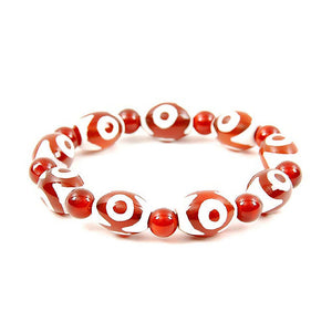 Lucky Dzi Bead Bracelet (12x16mm) - 3 Eyes
