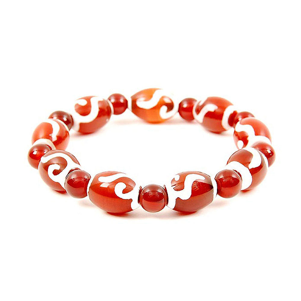 Lucky Dzi Bead Bracelet (12x16mm) - Ruyi as wish
