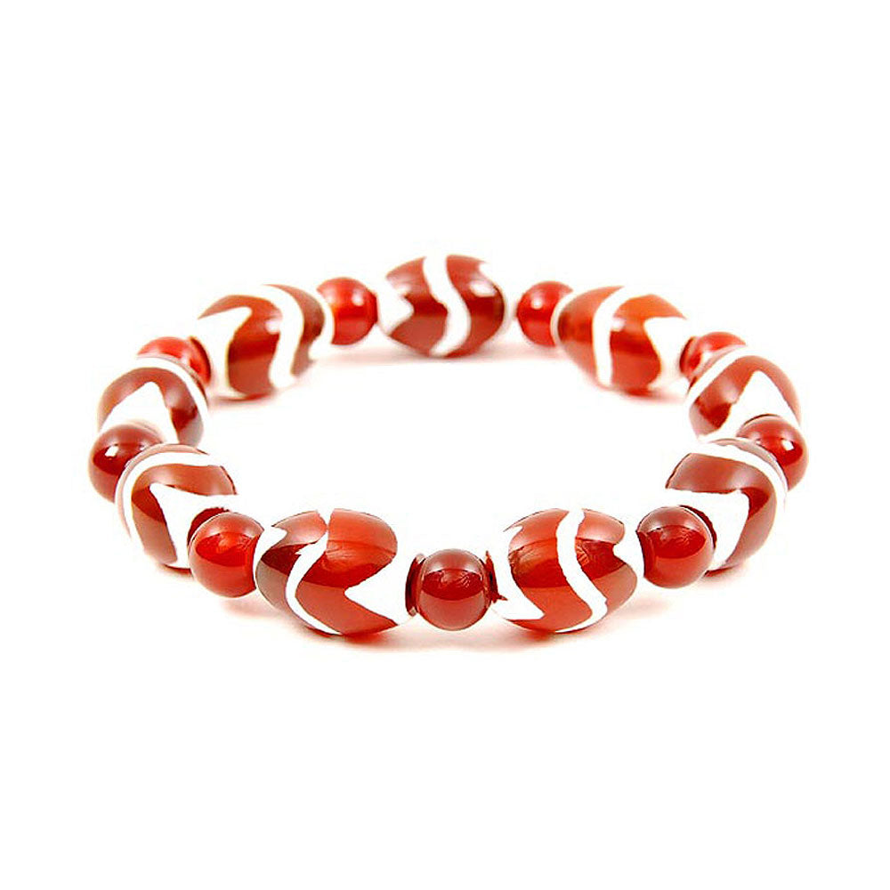Lucky Dzi Bead Bracelet (12x16mm) - Tiger Veins