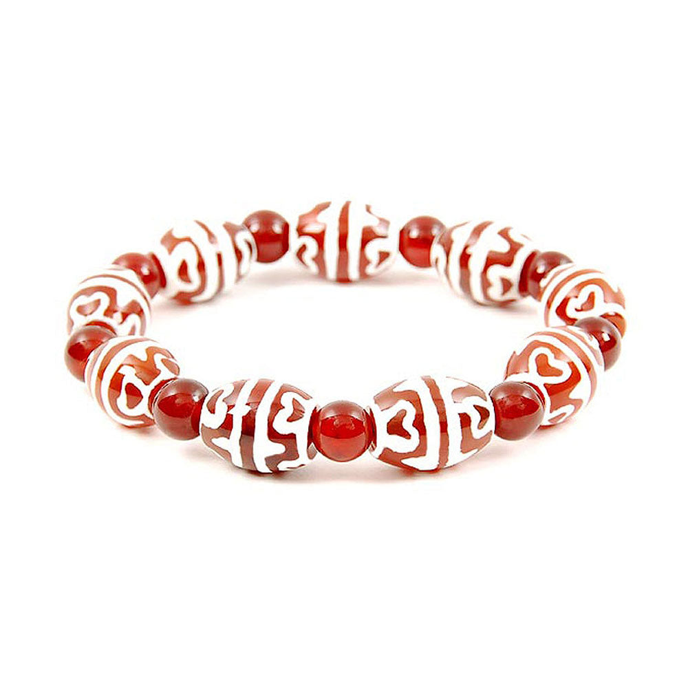 Lucky Dzi Bead Bracelet (12x16mm) - Tigers Teeth and Lotus