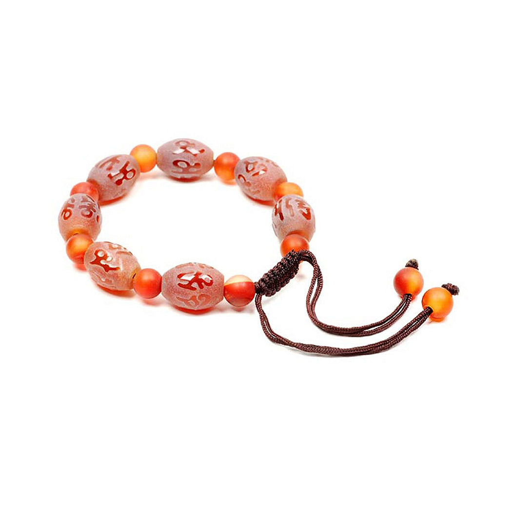 Lucky Dzi Bead Bracelet - Lucky Word (Frosted Surface)