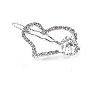 Elegant Heart Barrette with Silver Austrian Element Crystal