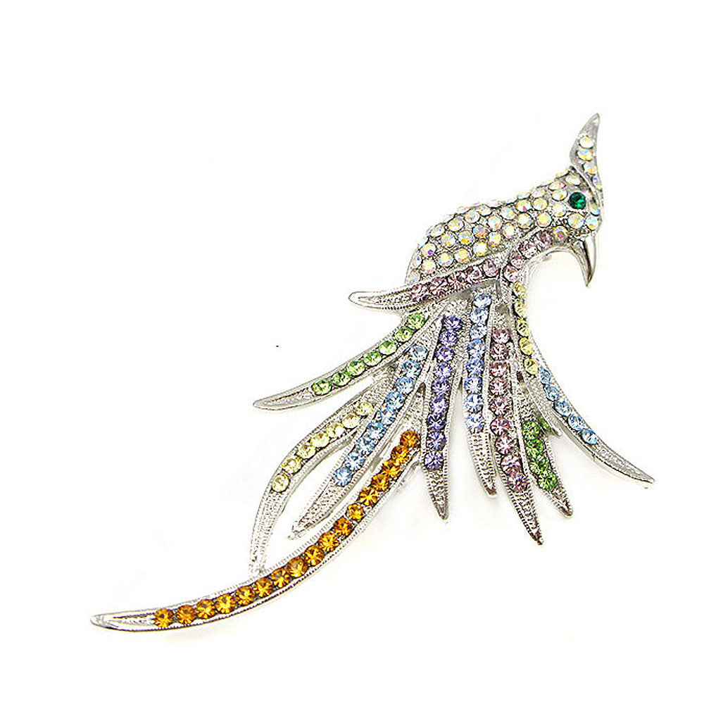 Elegant Phoenix Brooch with Multi-color Austrian Element Crystals