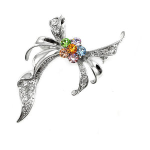 Elegant Ribbon Brooch with multi-color Austrian Element Crystal
