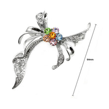 Load image into Gallery viewer, Elegant Ribbon Brooch with multi-color Austrian Element Crystal