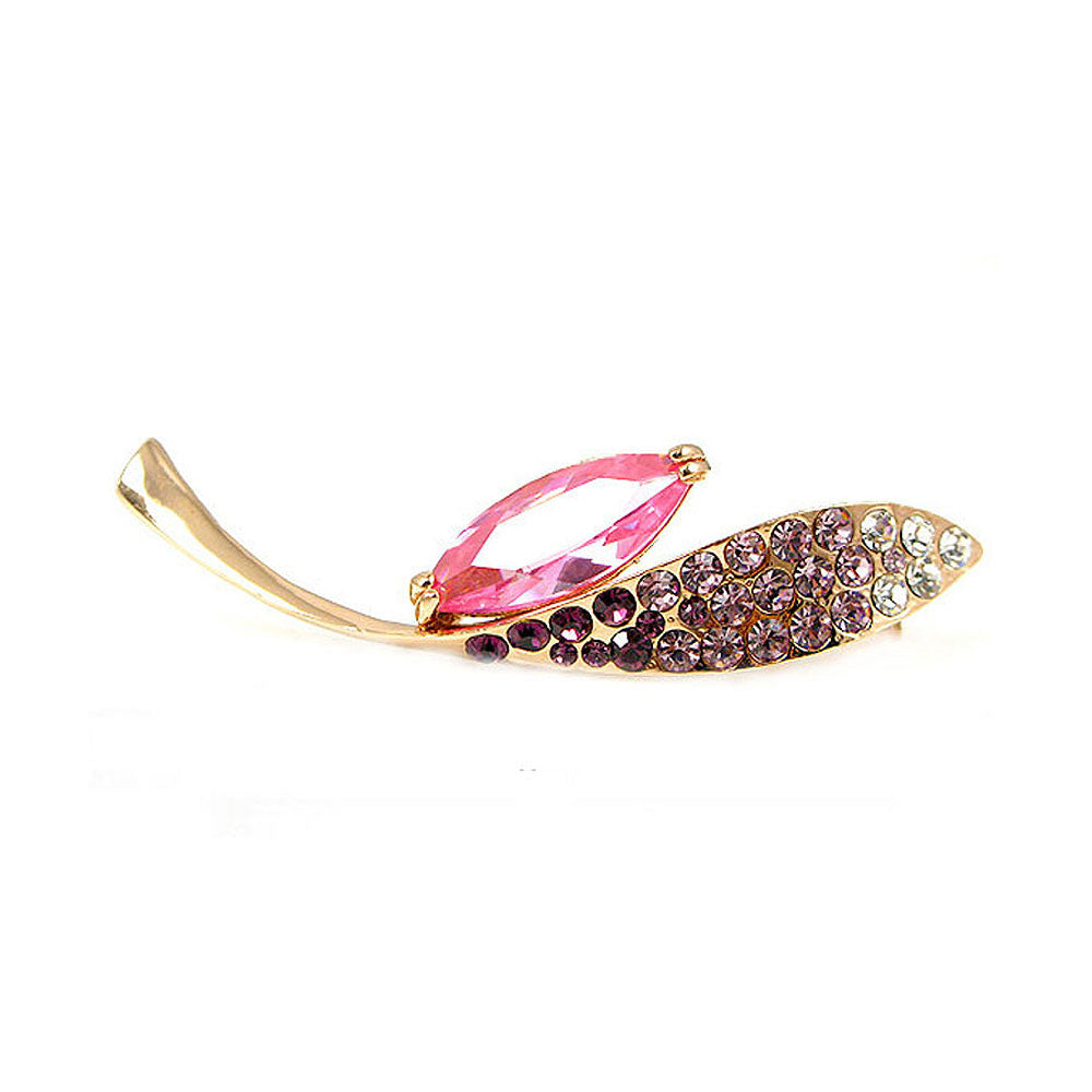 Elegant Brooch with Pink and Purple Austrian Element Crystal