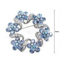 Load image into Gallery viewer, Elegant Flower Brooch with Blue Austrian Element Crystal