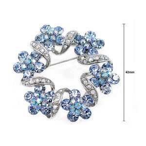 Elegant Flower Brooch with Blue Austrian Element Crystal