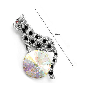 Elegant Leopard Brooch with Black and Silver Austrian Element Crystal