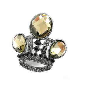 Elegant Crown Brooch with Yellow Austrian Element Crystal
