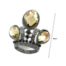 Load image into Gallery viewer, Elegant Crown Brooch with Yellow Austrian Element Crystal