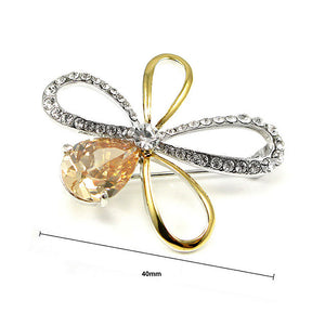 Elegant Flower Brooch with Silver and Yellow Austrian Element Crystal