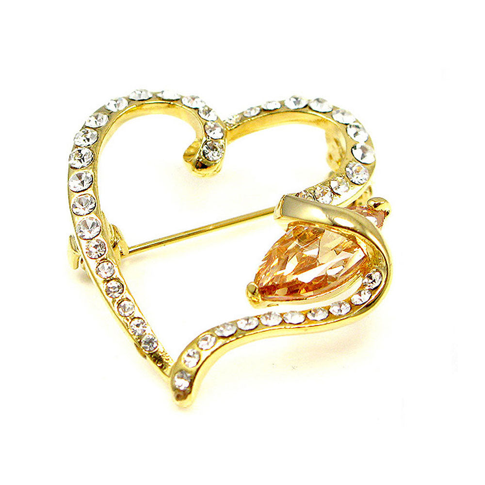 Elegant Heart Brooch with Yellow Austrian Element Crystal