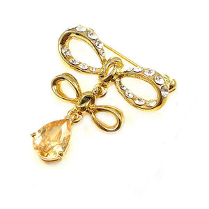 Elegant Ribbon Brooch with Yellow Austrian Element Crystal