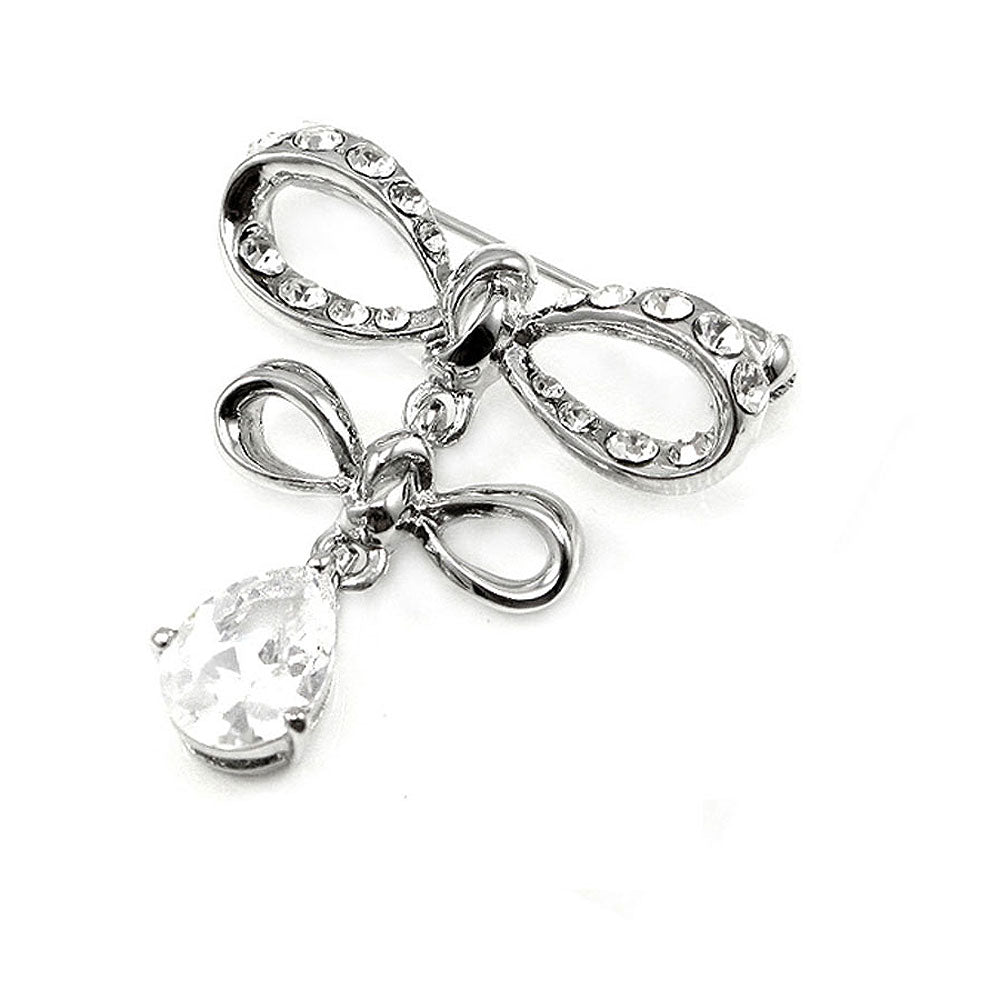 Elegant Ribbon Brooch with Silver Austrian Element Crystal