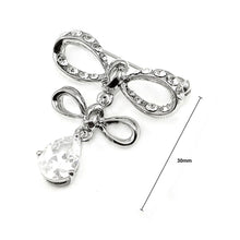 Load image into Gallery viewer, Elegant Ribbon Brooch with Silver Austrian Element Crystal