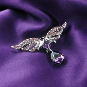 Elegant Wing Brooch with Purple Austrian Element Crystal