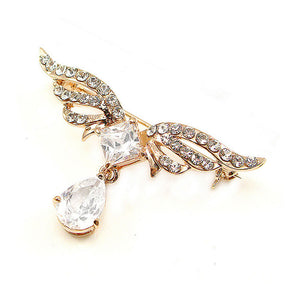 Elegant Wing Brooch with Silver Austrian Element Crystal