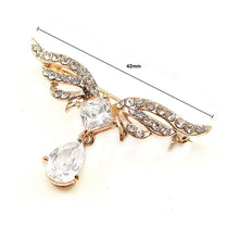 Load image into Gallery viewer, Elegant Wing Brooch with Silver Austrian Element Crystal