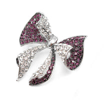 Load image into Gallery viewer, Elegant Ribbon Brooch with Purple and Silver Austrian Element Crystal