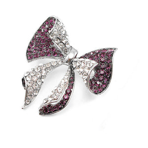 Elegant Ribbon Brooch with Purple and Silver Austrian Element Crystal