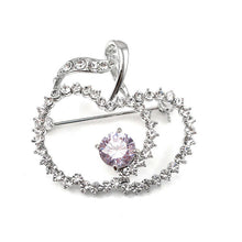 Load image into Gallery viewer, Elegant Apple Brooch with Silver and Purple Austrian Element Crystals