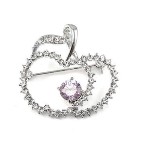 Elegant Apple Brooch with Silver and Purple Austrian Element Crystals