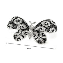 Load image into Gallery viewer, Elegant Butterfly Brooch with Black and Silver Austrian Element Crystal