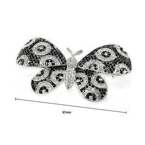 Elegant Butterfly Brooch with Black and Silver Austrian Element Crystal