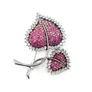 Elegant Leaf Brooch with Pink Austrian Element Crystal