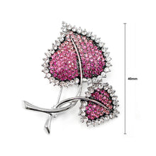 Load image into Gallery viewer, Elegant Leaf Brooch with Pink Austrian Element Crystal