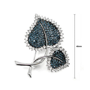 Elegant Leaf Brooch with Blue Austrian Element Crystal