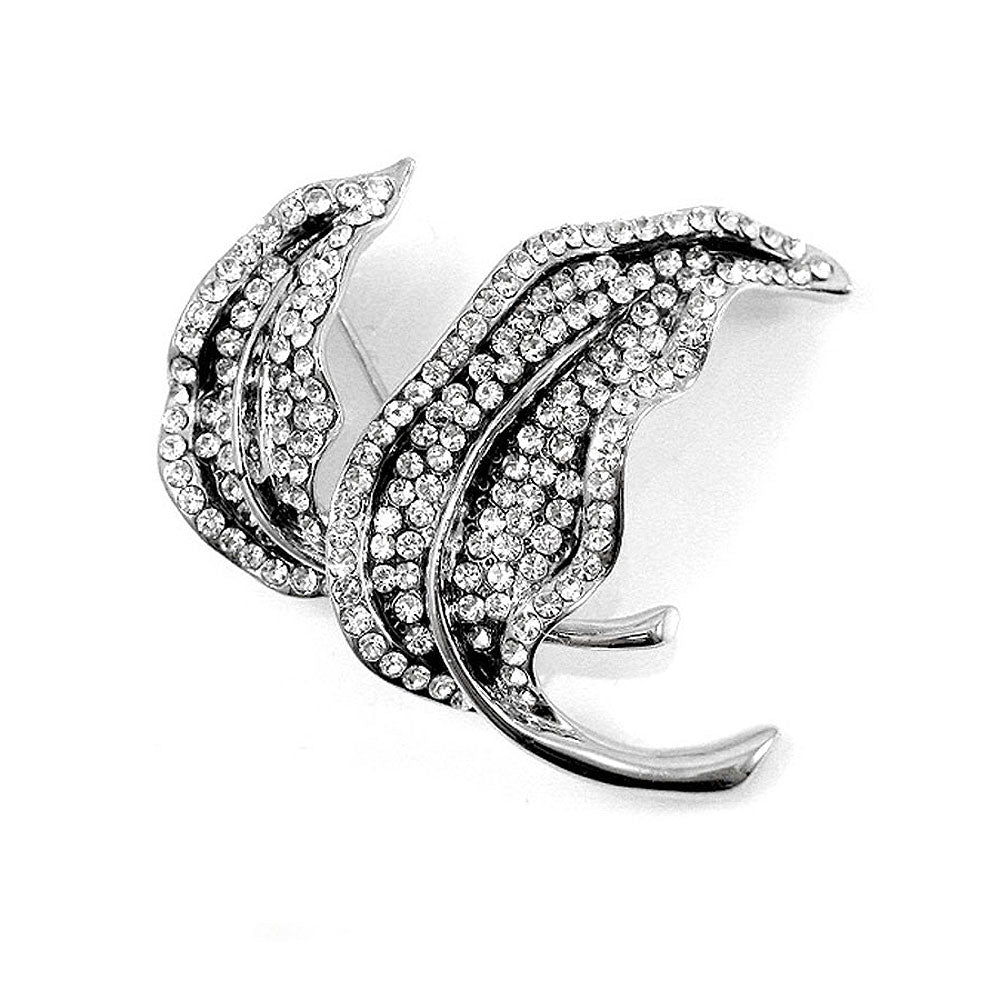 Elegant Leaf Brooch with Silver Austrian Element Crystal
