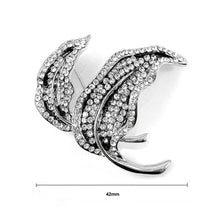 Load image into Gallery viewer, Elegant Leaf Brooch with Silver Austrian Element Crystal