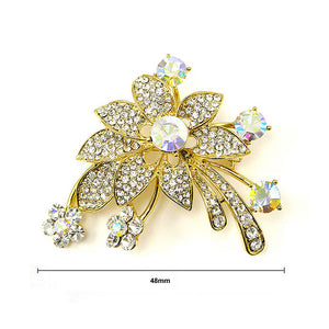 Elegant Flower Brooch with Silver Austrian Element Crystal