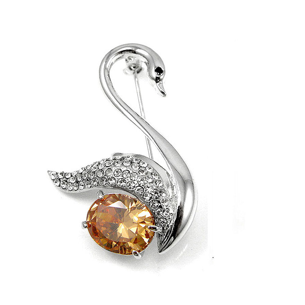 Elegant Swan Brooch with Silver and Yellow Austrian Element Crystal