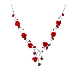Elegant Rose Necklace with Red Austrian Element Crystals and Crystal Glass