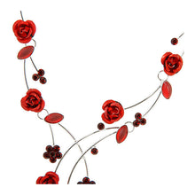 Load image into Gallery viewer, Elegant Rose Necklace with Red Austrian Element Crystals and Crystal Glass