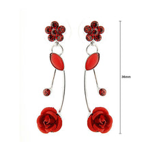 Load image into Gallery viewer, Elegant Red Rose Earrings with Red Austrian Element Crystals and Crystal Glass